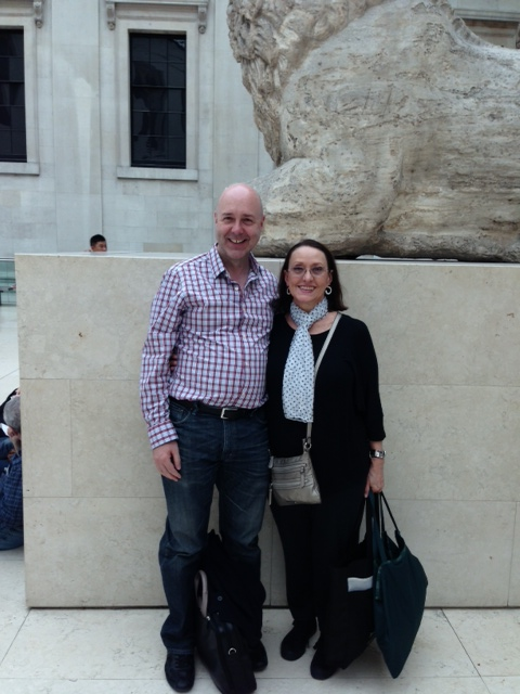 "In the British Museum, with good friend and West End (London) singing teacher, Mark Meylan, just before viewing the ""Pompeii"" exhibition."
